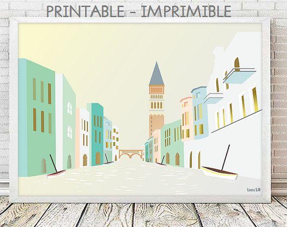 Venecia, laminas decorativas, ciudades, poster Venecia, Italia, ilustraciones, laminas A4, laminas A3, decoracion pared, digital