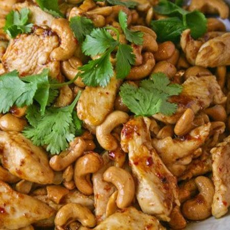 Crock-pot Cashew Chicken: 4 chicken breasts, 1/4 cup all purpose flour, 1/2 tsp black pepper, 1 Tbsp canola oil, 1/4 cup soy sauce, 2 Tbsp rice wine vinegar, 2 Tbsp ketchup, 1 Tbsp brown sugar, 1 garlic clove, 1/2 tsp grated fresh ginger, 1/4 tsp red pepper flakes, 1/2 cup cashews. Double the sauce portion and serve over rice.