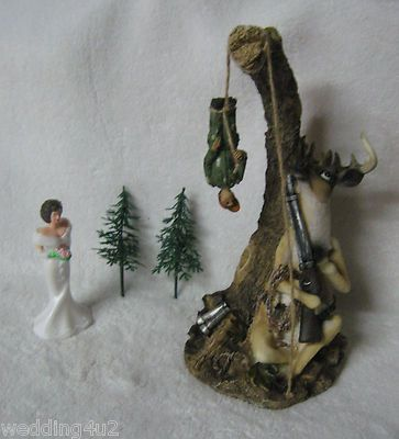 Redneck Funny Wedding Deer Camo Hanging From Stump Hunter Cake Topper