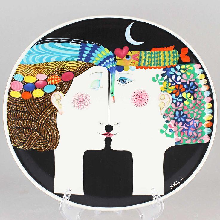 Stig Lindberg (1980) Amazing Wall Plaque Moonlight with Box