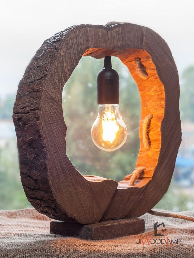 Wood Round Lamp Rustic Lighting Diy Driftwood Lamp Wooden Lamps Design