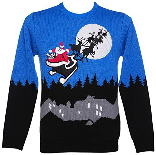 Santa Sleigh Ride Retro Christmas Sweater with Lights
