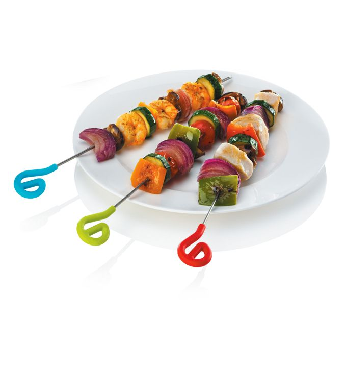 Zeal Silicone and Stainless Steel Skewers. Available in blue, green, dark green, red and pink. Silicone is heat resistant enough to go on the BBQ. By Kitchen Innovations.