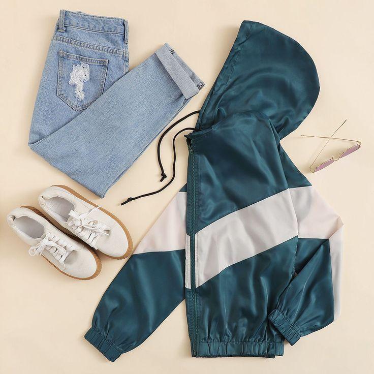 Zip Up Color Block Hoodie Jacket – #1