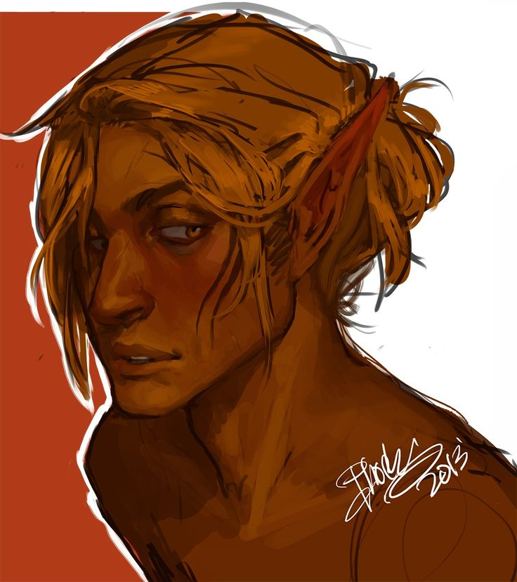 """Zevran by pheberoni on tumblr. Description: I bet really cheesy compliments make Zevran blush, like you could say the raunchiest thing and hes like yeah whatever, but then it's like """"you have a cute giggle."""" And bam: he's a blushy awkward 10th grader okay"""