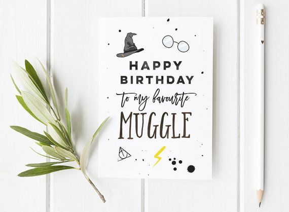 Harry Potter Inspired Birthday Card / Harry Potter / Wizard Birthday Card / Harry Potter Fan / Muggle / Muggle Birthday Card