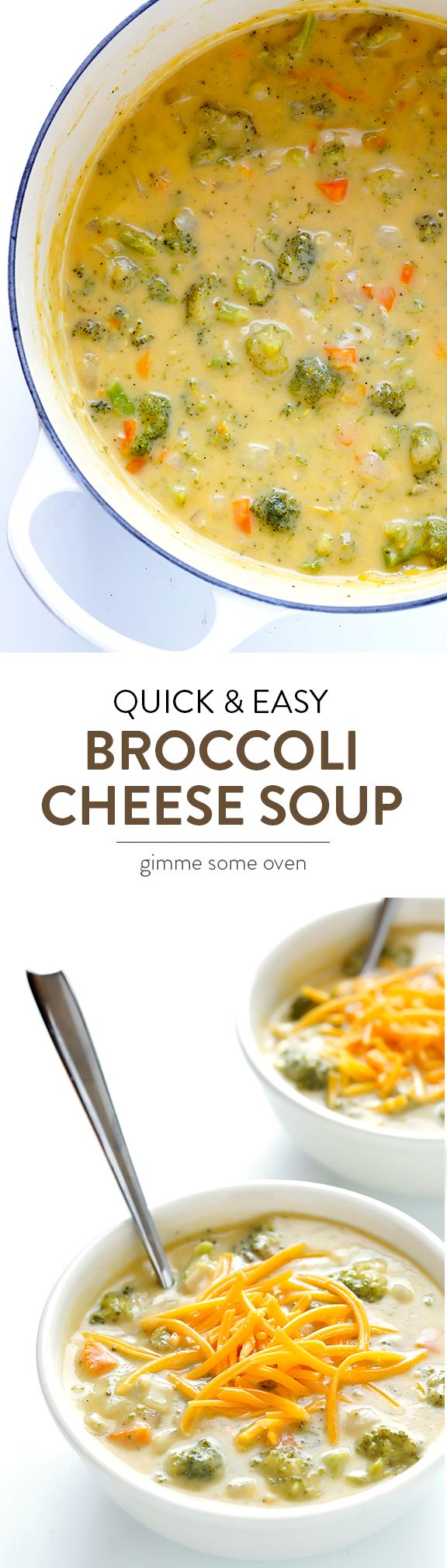 My all-time favorite recipe for delicious Broccoli Cheese Soup! Made with lots of fresh broccoli and cheddar, and always a crowd favorite | gimmesomeoven.com