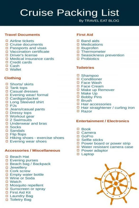 Cruise Packing List What To Pack For A Cruise Packing List For
