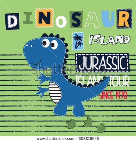 cute dinosaur on striped background, T-shirt design vector illustration - stock vector
