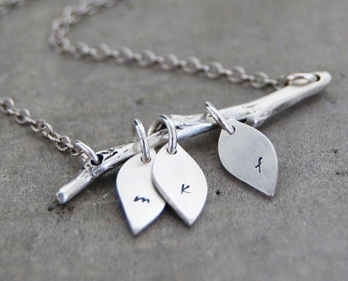 The Original Family Tree Initial Necklace - Personalized Custom Lower Case Initials on Three Leaves. $69.00, via Etsy.