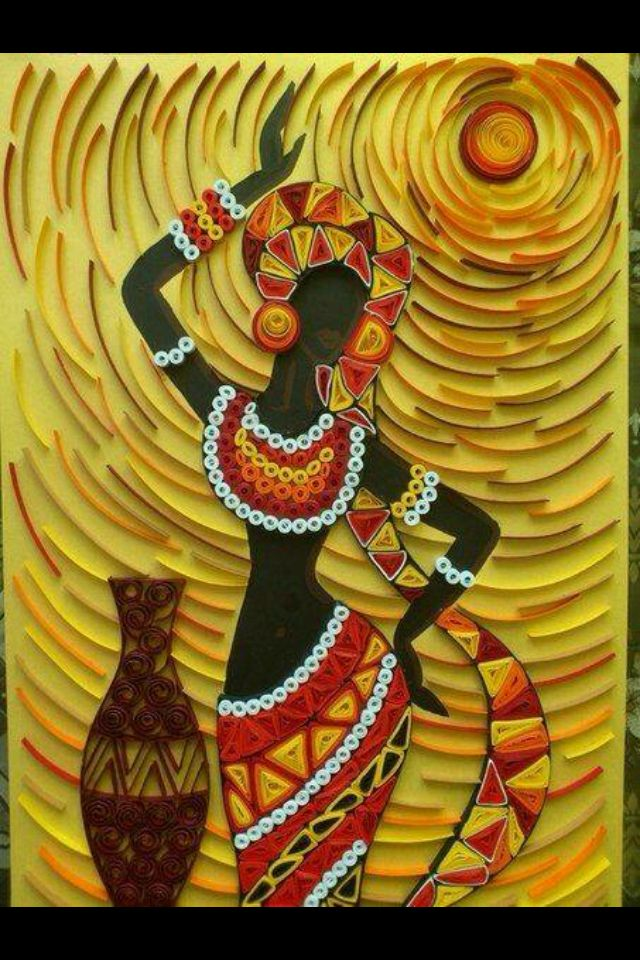 African woman quilling