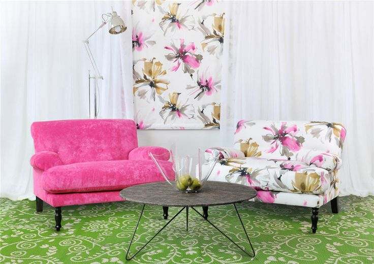 Tropicana drapery & upholstery fabric print by Charles Parsons Interiors  #charlesparsonsinteriors #fabric #material #drapery #curtains #floral #print