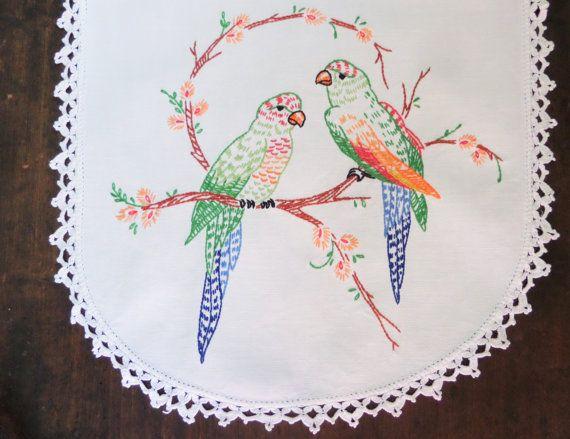 Vintage Embroidered Table Runner Birds Dresser by GreenleeAndVine