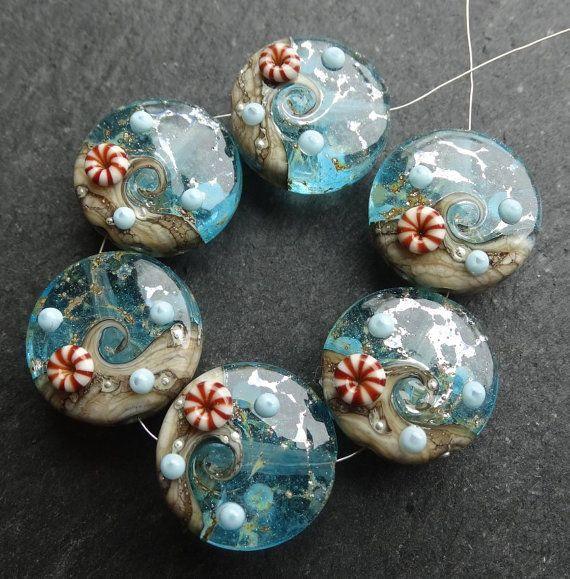 lampwork beads 018 sprees 6 ocean wave with murrine by beadgoodies