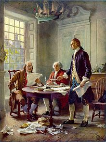 John Adams, Thomas Jefferson, + Ben Franklin working on the Declaration of Independence