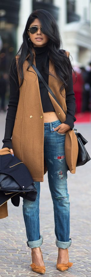 Camel Coat & Denim