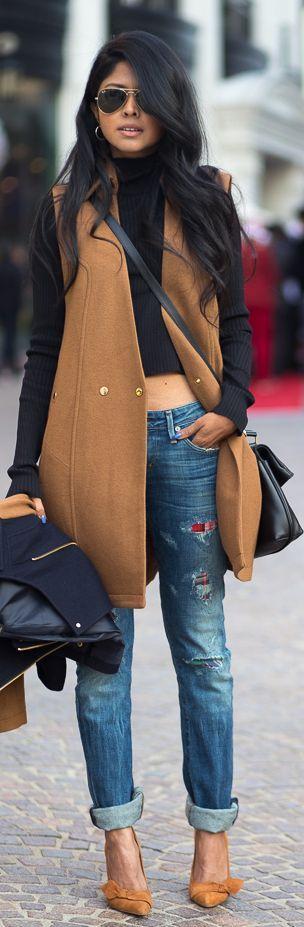 Outfit para otoño/invierno, me encanta lo bien que combina el top manga larga y el chaleco largo.