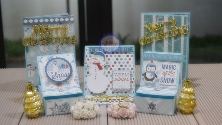 "christmas set : easel card, drawer, and wallet card using Carta Bella ""Bundled Up by Alisha Gordon"""