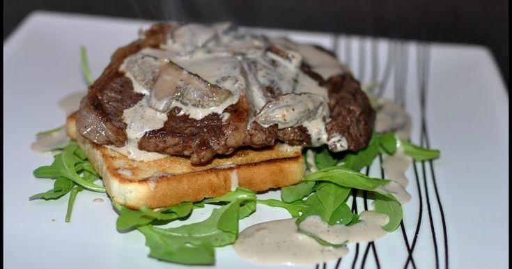 ...pôvodne tá omáčka mala byť dubáková, ale výborná bola aj táto...z lesných húb. Írsky steak z vysokej roštenky, kvalitné odležané mäso......