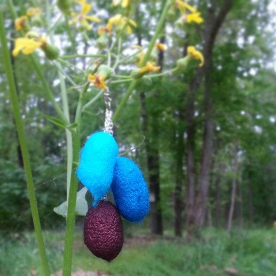 Silk worm cocoon earrings by ColorfulEarth on Etsy