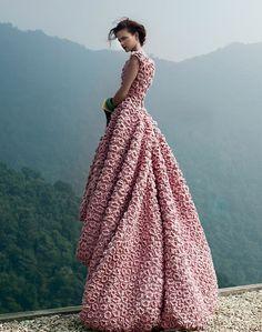 Crochet flower gown.