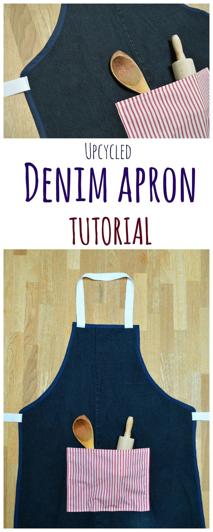 Former jeans are a great source of recycled fabric for making gifts. Learn how to make denim aprons, free tutorial on the blog.