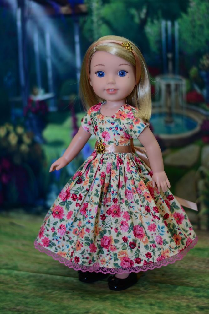 """Vibrant Spring"" Dress Outfit for American Girl Wellie Wishers, Hearts 4 Hearts #LuminariaDesigns"