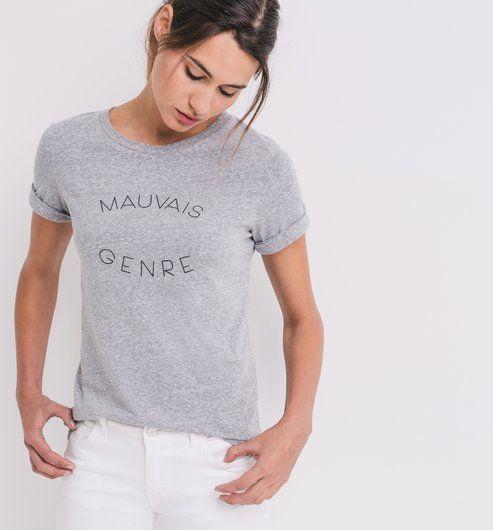 T-shirt à message Femme gris clair - Promod
