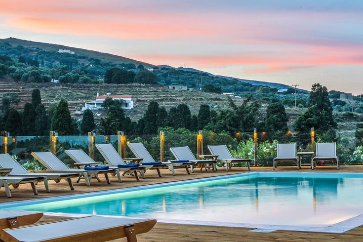 The Iro Suites, near Chora, enjoy sweeping views of the hills.