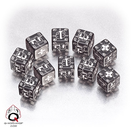 Black-white German battle dice set