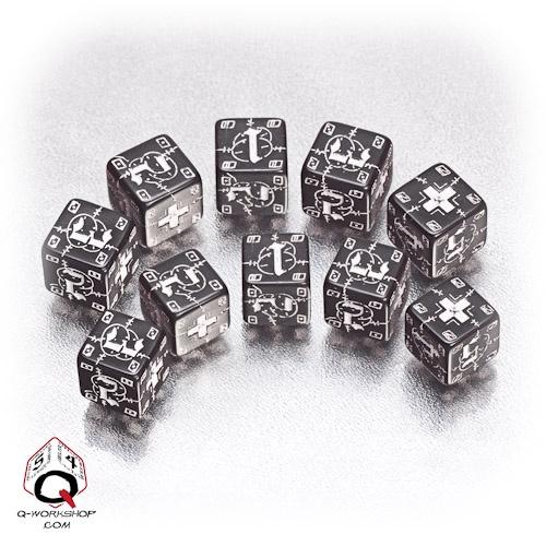 Black-white German battle dice set