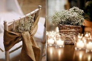 As decorações para casamento rústico muitas vezes são feitas apenas com móveis provençais. Que tal apostar em algo mais rústico como madeira?