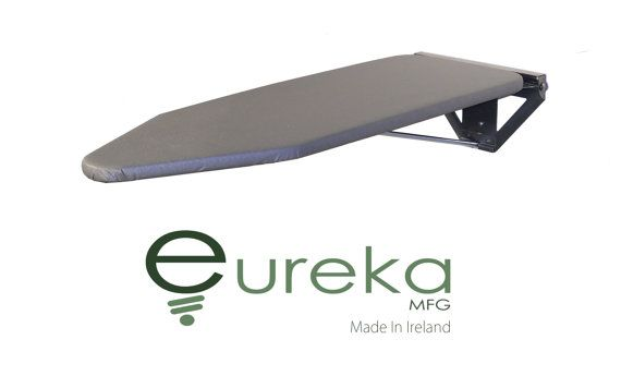 Eureka MFG - Compact Wall-Mounted Ironing Board Value Model - Silver Wall Fixing Plate - Zinc Plated Silver Fixing Bracket (Brushed effect Silver)  -