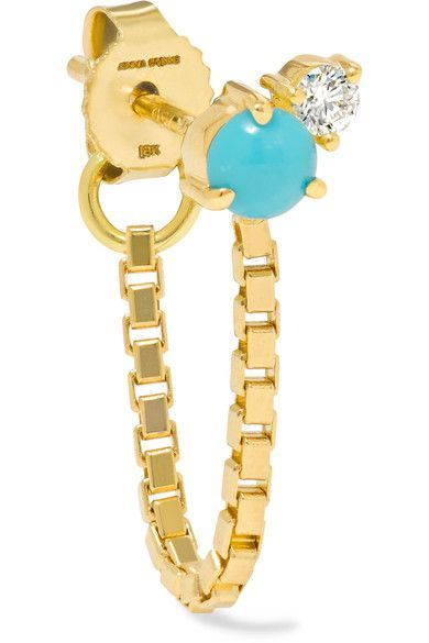 Jemma Wynne | 18-karat gold, turquoise and diamond earring | NET-A-PORTER.COM