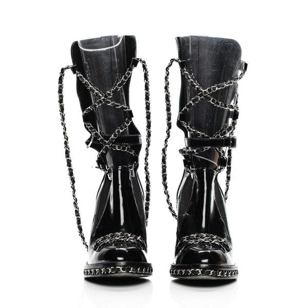 CHANEL Patent Chained Tall Combat Boots 36.5 Black ❤ liked on Polyvore featuring shoes, boots, patent leather combat boots, high heel boots, military boots, tall black boots and army boots