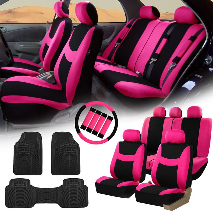 Car Seat Covers for Auto Pink w/Rubber Floor Mats/Steering Wheel/Belt Pads in eBay Motors, Parts & Accessories, Car & Truck Parts | eBay