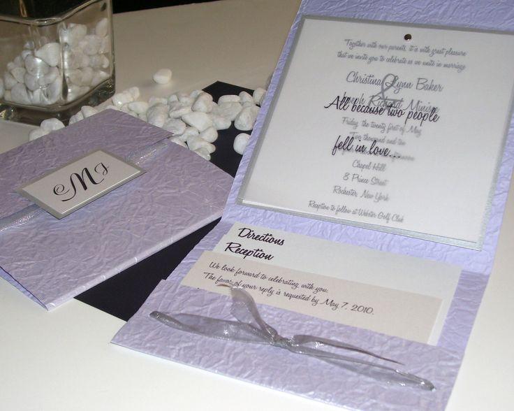 High School Crush Square Lilac Pocket Fold Wedding Invitation Set .