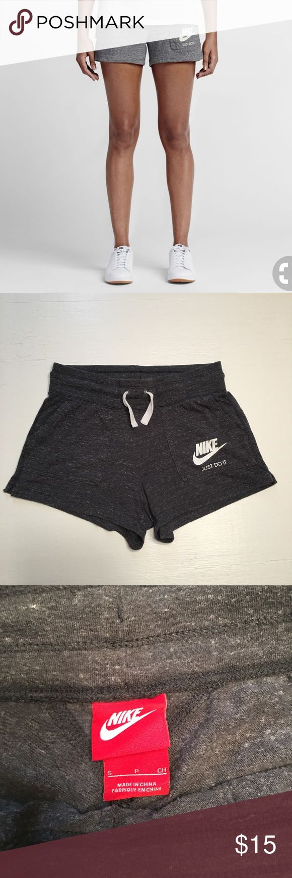 """Nike Vintage Style Cotton Lounge Shorts Nike Vintage Style dark grey cotton lounge shorts, with drawstring waist, swoosh symbol & Just Do It logo on pockets! Great for lazy Sundays!!! Size S. Measurements: waist-14"""", inseam-3"""", length-11.5"""". *No trades or try on's. **Props not included ***SMOKE FREE HOME A7 Nike Shorts"""