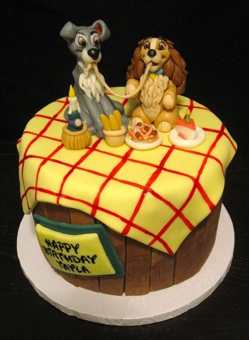 Lady and the Tramp cake is so adorable! It's perfect for a Disney-themed party. #disneyside