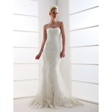 Trumpet/Mermaid Sweetheart Court Train Tulle Wedding Dress  – GBP £ 198.06
