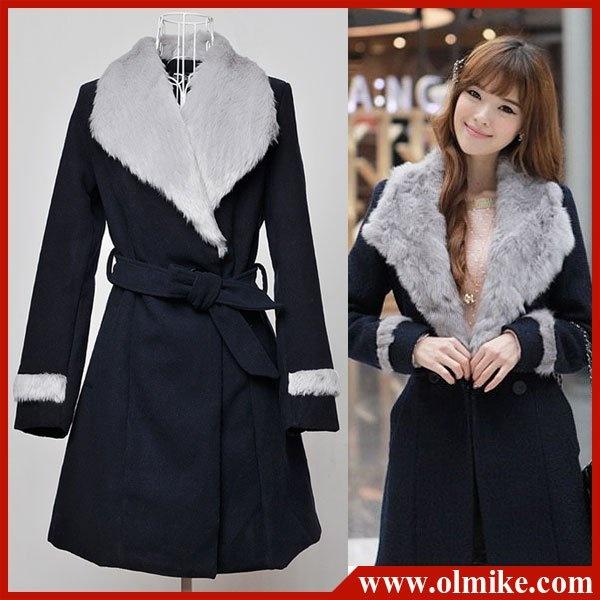 Women's Fashion topcoat Ladies' slim fit wool coat winter trench coat  outerwear Warm overcoat OL