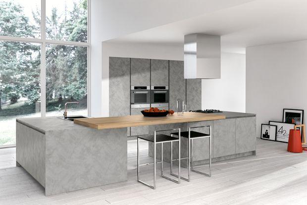 cocina gris cemento armony cucine