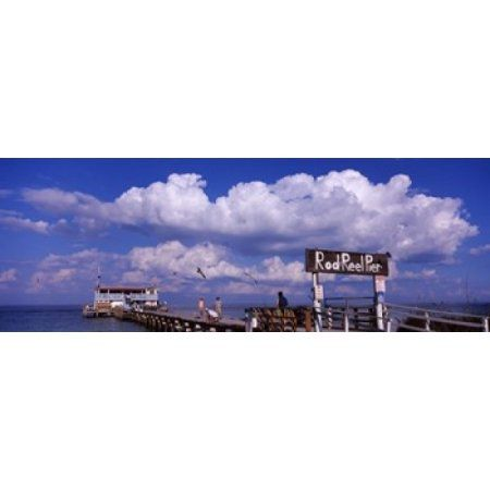 Information board of a pier Rod and Reel Pier Tampa Bay Gulf of Mexico Anna Maria Island Florida USA Canvas Art - Panoramic Images (36 x 13)