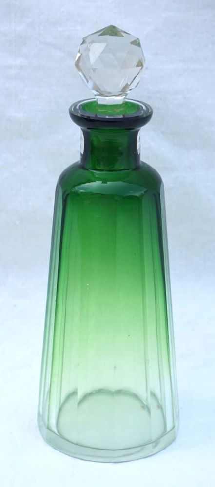 """Bohemian Art glass Caesar emerald green crystal perfume bottle made during the 1930's Art Deco area. 6 3/4"""" (17cm) height, 2 1/4"""" (5.8cm) diameter. Good condition a small chip to the base as shown by the following pictures.   eBay!"""