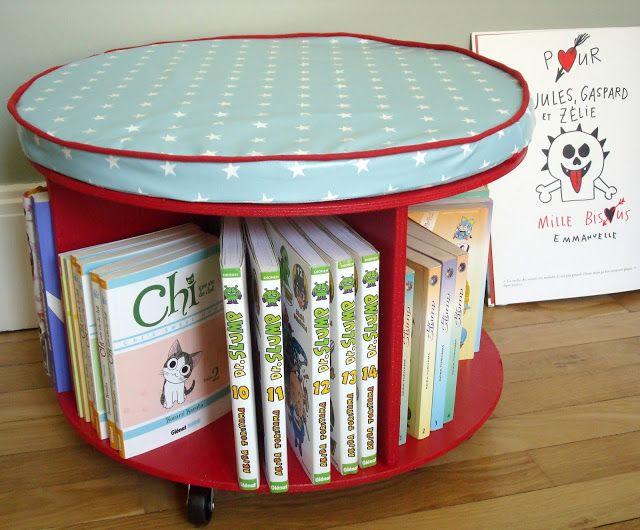 DIY / Tuto ★ Bibliothèque à roulettes, à partir d'un touret de chantier. www.tadaam.fr