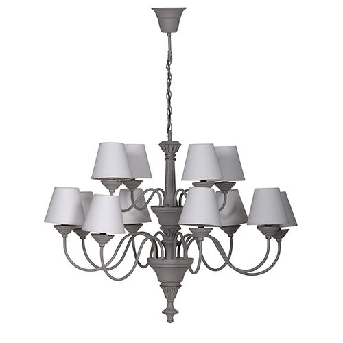 French 12 Branch Grey Chandelier - La Maison Chic, Interior Specialists in French Furniture, Rococo Furniture, Mirrors, Lighting & Accessories