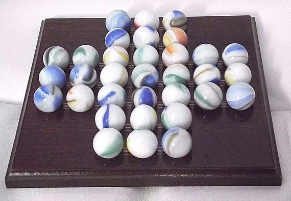 Vintage Wooden and Marble solitaire game 1970's