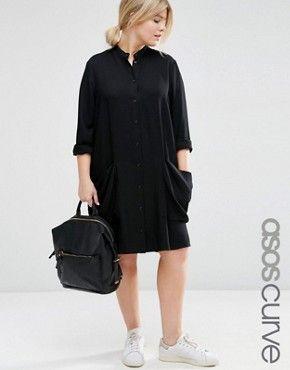 ASOS CURVE Shirt Dress with Drape Pockets