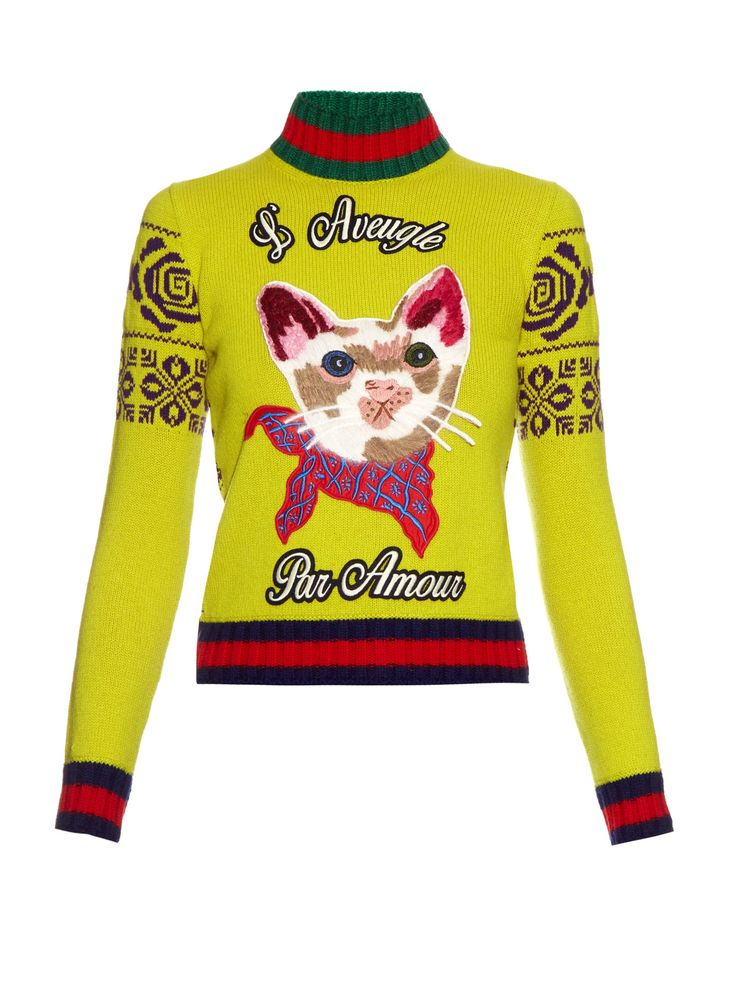 Cat appliqué wool sweater | Gucci | MATCHESFASHION.COM