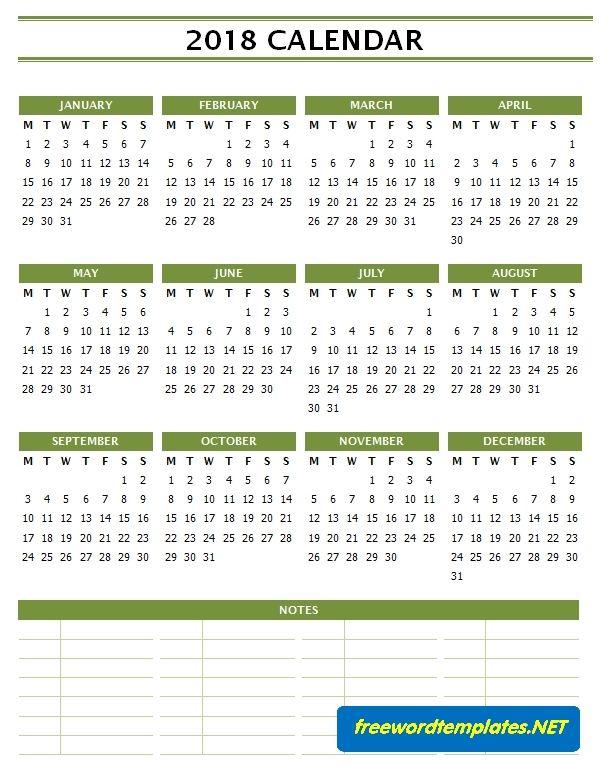 2018 Calendar Templates 8+ Free Printable PDF, Word  Excel